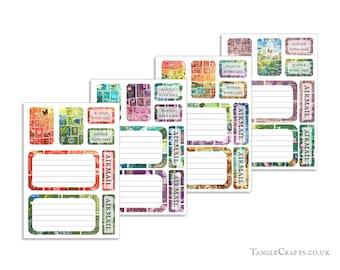 Mixed Set Address Labels, Envelope Seals, Stickers - Tonal & Landscape