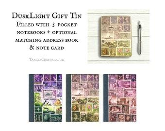 Heather Hills Stationery Gift Set - Storage Tin inc 3 pocket notebooks