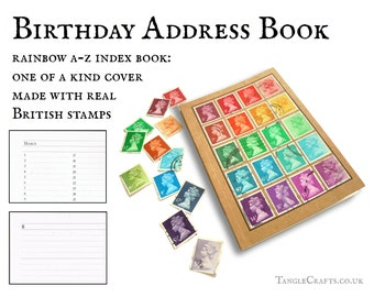 Rainbow birthday address book • unique British gift, postage stamp art •  pocket size A-Z index & notebook set, eco friendly gift for penpal
