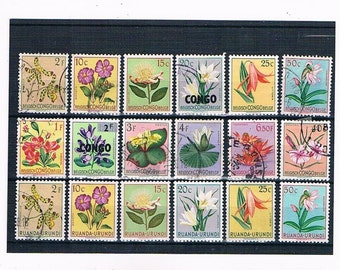 Flower Definitive Stamp Set from Belgian Congo & Ruanda-Urundi, circa 1950s