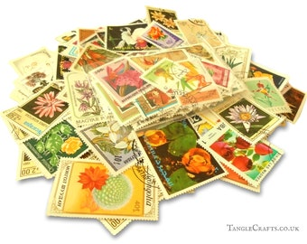 50 or 150 Botanical Mix, world postage stamps (loose in packet)