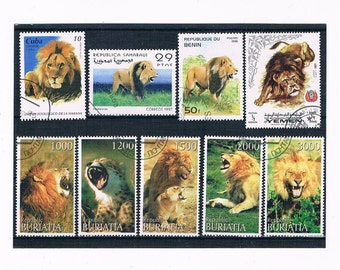 Lion Postage Stamp Selection - mixed countries