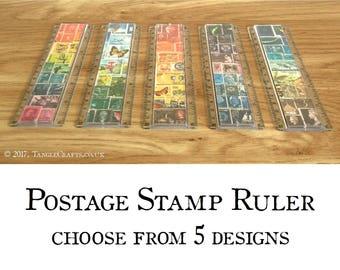 Postage Stamp Ruler - 6 inch ruler + optional pencil case