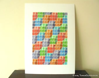Optical Illusion Rainbow Wall Art - Upcycled British Machin Postage Stamps
