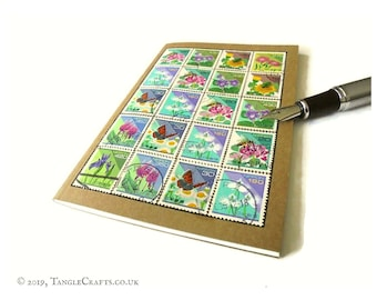 Japanese Garden Notebook • Upcycled Postage Stamp Travel Journal