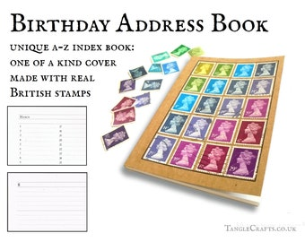 Pebble birthday address book • Machin stamp cover A-Z notebook