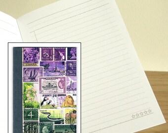 Purple Green Travel Notebook - Printed Pocket Postage Stamp Journal