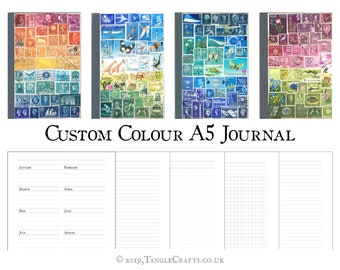 A5 Postage Stamp Journal, Mixed Pages - Original Collage Art Cover