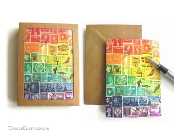 Rainbow Stamp Art Notecard Set, 4 or 8 - Colourful Postage Stamp Note Cards