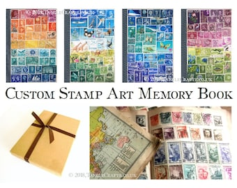 Paper Anniversary Gift: Memory Book with Unique Postage Stamp Collage Cover, choose Colour & Country | OOAK Special Occasion Gift for Writer
