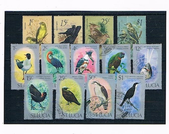 Birds on Postage Stamps Selection | flamingo, parrot, gull etc - 1970s Caribbean postal stamps for collection or upcycled craft, collage etc