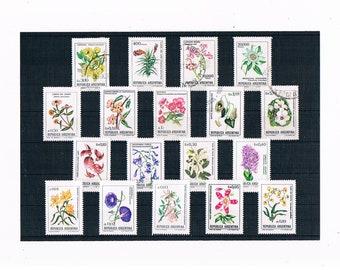 Argentina Wild Flower Stamps | botanical illustration, wildflower floral postal stamps - jacaranda, campanula etc | craft decoupage collect