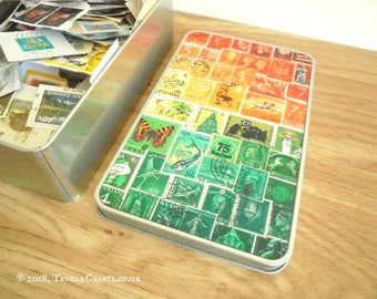 Sunset Tin Full of Postage Stamps on Paper - Philately Gift Set