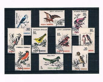 Retro Garden Bird Stamp Collection - Romania 1993 Set