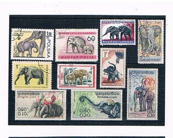 Elephants - Mixed Vintage Postage Stamp Selection from 1950s - 1970s