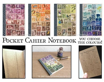 Custom Colour A6 Notebook • Colourful Recycled Stamp Collage Art