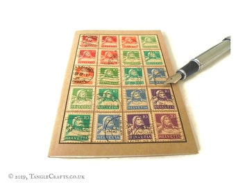 Switzerland Travel Notebook - rainbow William Tell bust definitives