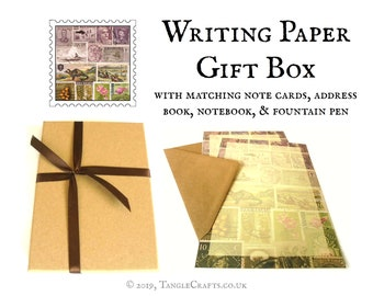 Boxed Letter Writing Gift Set - Writing Paper & Fountain Pen + matching stationery options