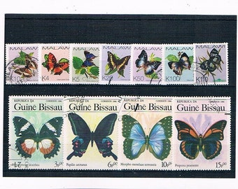 Butterflies on Stamps - Selection from Malawi & Guinea-Bissau | small + large butterfly stamps collection | topical thematic used stamps