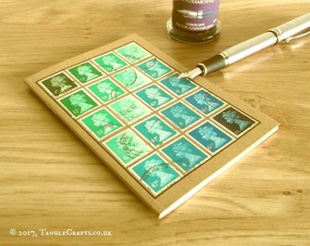 Aqua Green Turquoise Upcycled Machin Stamp Notebook