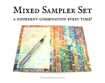 Writing Paper Sampler Set - 6 or more different postage stamp designs