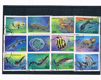 Fish & Sea Creatures on Postage Stamps - Tanzania, 1990s