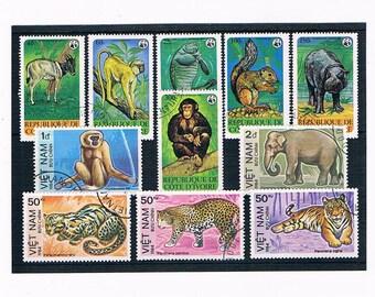 Endangered Species Wildlife Postage Stamps - Ivory Coast & Madagascar