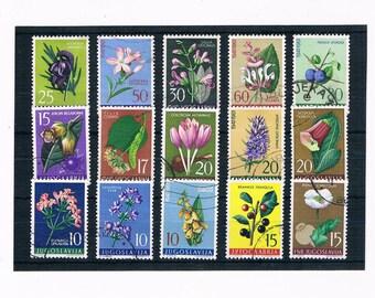 Yugoslavia Flower Postage Stamps, circa 1960s
