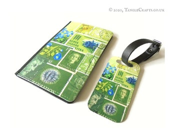 Tonal Green Passport Cover & Luggage Tag Set - postal stamp print