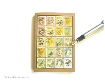 Flowers Notebook - Album-Style Cover of Upcycled 1969 Uganda Stamps