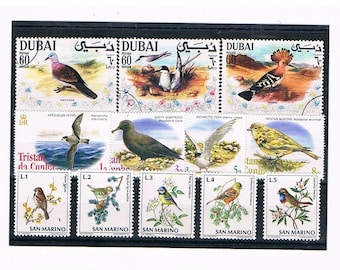 Sea Birds & Garden Birds, Postage Stamp Selection - tern, albatross, blue tit etc | thematic vintage postal stamps to craft upcycle collect