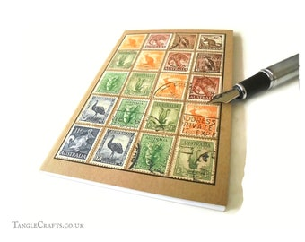 Vintage Australian Wildlife - Stamp Album Style Travel Notebook