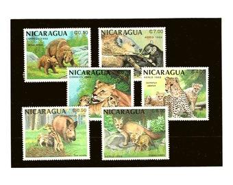 Wild Animal & Cubs Postage Stamps - Part Set Nicaragua 1988