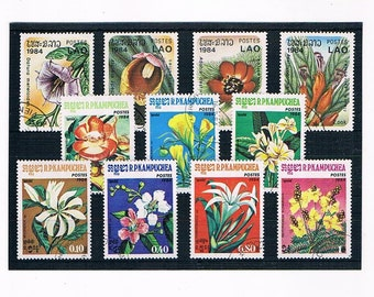Exotic Flowers on Postage Stamps - Kampuchea & Laos, 1984