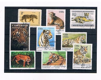 Tigers on Postage Stamps - thematic selection inc Cambodia 1998 part set