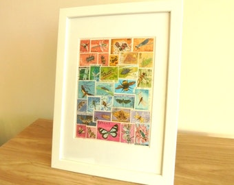 Rainbow of Insects - Upcycled Postage Stamp Wall Art