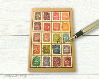 Portugal Travel Notebook, A6 Journal | Muted Rainbow Upcycled Vintage Postage Stamps | Recycled Caravel Collection, Eclectic Sea Travel Gift