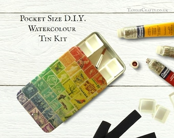 Compact DIY watercolour tin with slide top lid