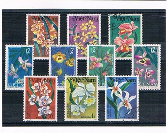 Orchids on Postage Stamps from Vietnam - colourful flower stamps | vintage topical postal stamps for collection decoupage cardmaking craft
