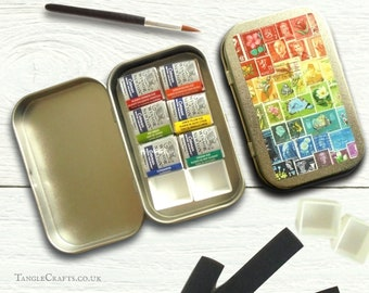 Mini watercolour travel set - orange red warm palette