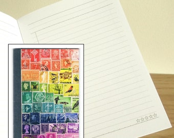 Rainbow Print Notebook - Stamp Print Pocket Journal, Adaptable Layout