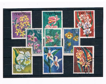 Vietnam Flower Postage Stamps, Orchids - part sets 1984 & 1966