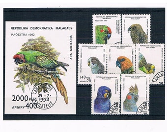Parrots on Postage Stamps - Madagascar 1992 set & miniature sheet