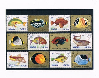Tropical Fish Postage Stamps - part sets from Fujeira & State of Oman (1972)