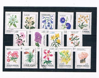 Wild Flower Postage Stamps from Argentina, 1980s