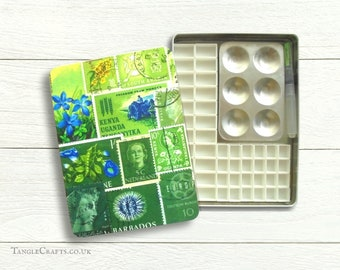 Spring Greens DIY watercolour tin with lift off lid - C5 A5 size