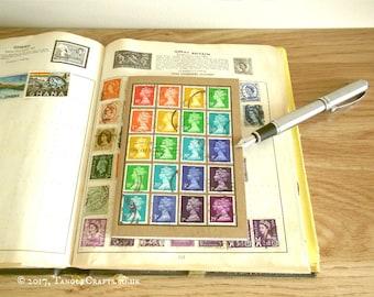 Rainbow Notebook, Multicolour Machin Stamps - Pocket British Travel Journal