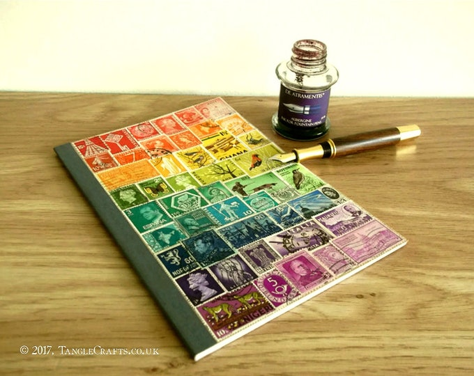 Featured listing image: Rainbow Bullet Journal | Dot Grid Bujo Notebook with Page Index, Dotted A5 TN Insert | Upcycled Postage Stamp EcoFriendly Collage, LGBT Gift
