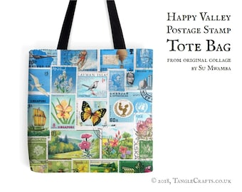 Happy Valley Tote Bag - Postage Stamp Print Shopper with Long Handles