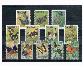 Butterflies on Stamps - Namibia, 1990 & Malaysia, 1970